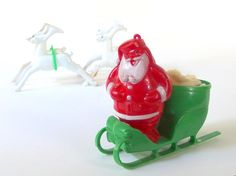 Vintage Plastic Santa, Reindeer and Sleigh Christmas Holiday Decorations, Candy or Candle Holder