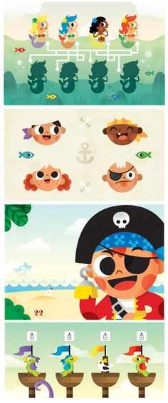 "Character design and Illustrations for ""Súper Valijita"" Kids Magazine. Pirate Illustration, Children's Book Illustration, Character Illustration, Graphic Design Illustration, Game Character Design, Kid Character, Character Concept, Logo Pirate, Pirate Kids"