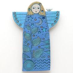 Your place to buy and sell all things handmade - Angel Handmade Ceramic Angel Home Decor wall art by DavisVachon - Clay Projects, Clay Crafts, Ceramic Clay, Ceramic Pottery, Pottery Angels, Handmade Angels, Ceramic Angels, Christmas Clay, Ceramic Figures