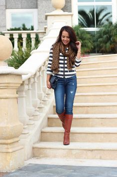 Fall Casual Outfit: Striped zip up jacket top - leopard scarf -  denim jeans - navy foldover clutch with Cognac Boots // details here: http://www.stylishpetite.com/2013/11/fall-casual-outfit-stripes-leopard-with.html