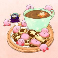 Kirby cookies and coffee