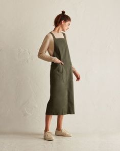 Women's Cotton Twill Apron Dress