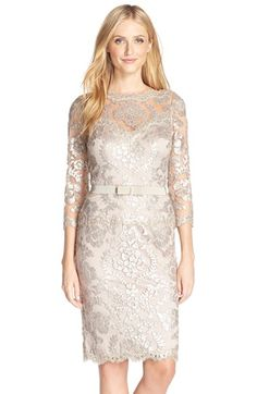 Free shipping and returns on Tadashi Shoji Embroidered Lace Belted Dress at Nordstrom.com. The always-chic bateau-neck sheath is elevated to black-tie glam in shimmery sequin-embroidered lace left sheer at the yoke and sleeves.