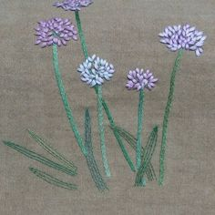 #flower hand embroidery  #두메부추꽃 #야생화자수