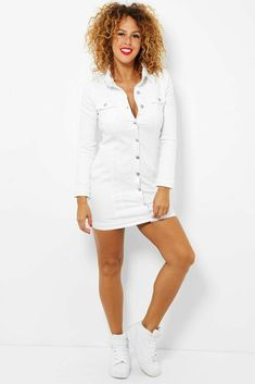 Womens Ladies White Stretchy Denim Shirt Dress Long Sleeves Buttons Collared UK #Unbranded #ShirtDress #AnyOccasion
