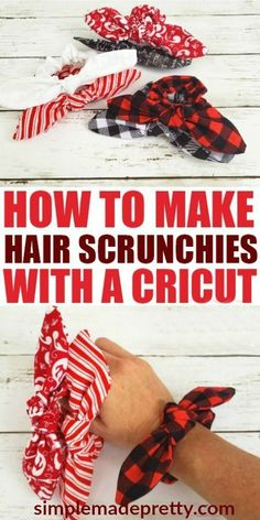 How To Make A Scrunchy With A Cricut Machine (Free SVG File) If you ever wondered how to sew scrunchies or how to make a hair scrunchy, you will love this tutorial! The best part of this tutorial is that I made these DIY hair scrunchies using my Cricut Ma Diy Hair Scrunchies, How To Make Scrunchies, Diy Hair Bows, Cricut Tutorials, Sewing Tutorials, Wie Macht Man, Maker, Cricut Creations, Sewing Hacks