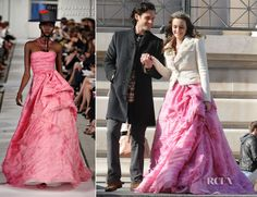 On The Set Of Gossip Girl With Leighton Meester ore a stunning pink strapless Oscar de la Renta Resort 2012 gown under a warm white blazer & a tiara