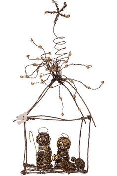 """This nativity scene is so unique and whimsical, with rustic wire and a mother of pearl dove. It has an abstract and rustic version of Mary, Joseph, and baby Jesus, and the sparkling Christmas star adds a cute touch.    Measures: 7.5"""" H x 3.5"""" W   Small Wire Nativity by Jeremie. Home & Gifts - Home Decor - Holiday Boulder, Colorado"""