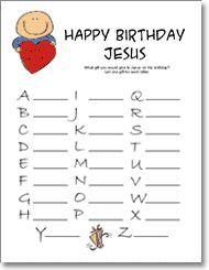 Christmas Game - Happy Birthday Jesus Party think of a gift for Jesus, one for each letter?