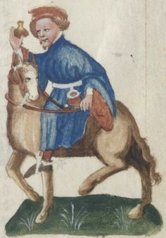 """Chaucer scholars have generally settled on April 17, 1387, as the date his pilgrims departed for Canterbury. From the fifteenth-century illustrations from the Ellesmere manuscript of """"The Canterbury Tales"""": The Manciple."""