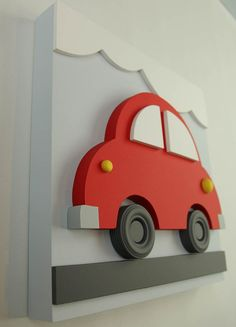 Items similar to Wood Car Wall Art for Kids, Red Car Transportation Baby Nursery and Kids Room Decor on Etsy Car Wall Art, Wood Wall Art, Kids Wall Decor, Room Decor, Nursery Decor, Art Mural 3d, Wood Toys, Wood Crafts, Art For Kids