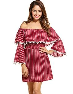 Zeagoo Fashion Women Off Shoulder Ruffles Striped Casual Tassel ALine Dress Medium Red >>> Want to know more, click on the image.