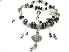 Silver Crystal Trust ing Heart Black Onyx Crystal by FantasyDesign, $175.00