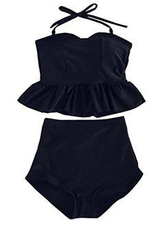 Swimsuit Viva Rose® 2pcs High Waisted Stripe Figure-shaping Women's Swimwear (FBA) (L (US 12-14), Black) Viva Rose http://www.amazon.com/dp/B00ZP37A78/ref=cm_sw_r_pi_dp_3bL-wb0ST98ZM