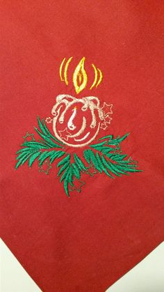 Christmas Candle free machine embroidery design