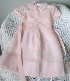 Vintage Girls Dress Size 5T to 6T  Sheer Organdy Blush Pink Made in Belgium 1920s