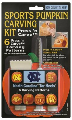 North Carolina Tar Heels Pumpkin Carving Kit by Topperscot. $9.99. Officially Licensed Designs. One Sports Pumpkin Carving Kit. Tool Set Consists of a Carving Saw, Scoop and Glue Stick. Kit Contains Six Team Specific Designs and Three Piece Tool Set. Adult Supervision Required- For Ages 5 and Up. NCAA North Carolina Tar Heels Pumpkin Carving Kit