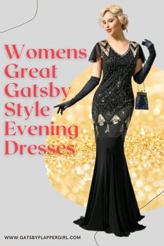 Click here to see all our stunning ladies 1920s Evening Wear, Cocktail & Formal Dresses. Perfect for all ages! Dress in Style - Roaring 20s style! 20s Dresses, Formal Evening Dresses, Evening Gowns, Great Gatsby Outfits, Great Gatsby Fashion, Gatsby Dress Plus Size, Plus Size Dresses, Roaring 20s Fashion, 20s Style