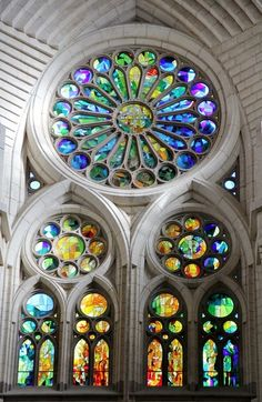 , I really love the colourful Church window with a massive circle at the top #StainedGlassChurch