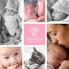 Gorgeous multi-photo girl baby thank you card from Sleepymoon Cards