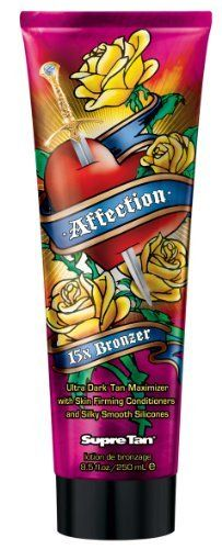 Affection 15X Bronzer by Supre. $15.67. Ultra Dark Bronzer. Regular - 15x Bronzer - Lotion - 8.5 ounces.  * 4 part silicones * Skin firming conditioners * Powerful dark tanning maximizers help boost melanin production during UV exposure for a deep, rich, golden tan. * Advanced 15X Ultra Dark Bronzing Blend DHA and Natural Bronzers dramatically darkens skin after UV exposure for a deeper, darker, longer lasting tan. * Antioxidant-rich blend of flower extracts  * Vitamins A,C and E...