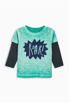 T-shirt Roar vert à manches longues (3 mois - 6 ans)