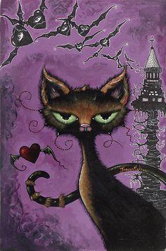 Metal Drawing, Cat Drawing, Halloween Pictures, Halloween Cat, Metallic Prints, Goth Art, Collaborative Art, Environment Concept Art, Comic