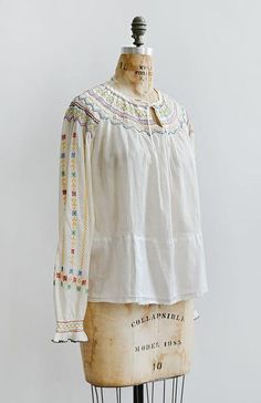 vintage 1930s Hungarian embroidered peasant blouse Thrift Haul, Peasant Blouse, Cupboard, Smocking, 1930s, Thrifting, Sleeves, Vintage, Color