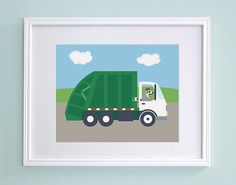 Garbage Truck Nursery Art  Lemur Kids Wall by GrizzlyBearGreetings, $16.00