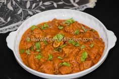 Kashmiri Mutton Curry is an adaptation of the classic Mutton Rogan Josh; the succulent mutton pieces cooked in a delicious tangy gravy with whole spices.