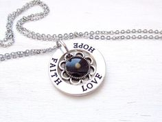 More Mustard Seed jewelry: http://www.etsy.com/shop/GoldenGreenDawn/search?search_query=Mustard  Lovely Christian necklace with a real mustard seed and an engraved round charm. The mustard seed is a symbol of Hope, Love and Faith - those words engraved on the pendant. This jewelry for wear every day and it is a perfect gift for her.  Measurements & Materials : • Silver color charm is 2.4cm (0.95) in dia • Real mustard seed • Length of silver color chain to your choice  And even more Mustard…