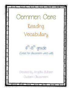 Word Wall Vocabulary Cards Middle School STAAR vocabulary
