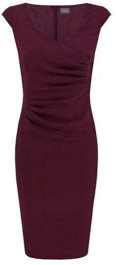 Alexon Purple Maroon Crepe Wrap Dress