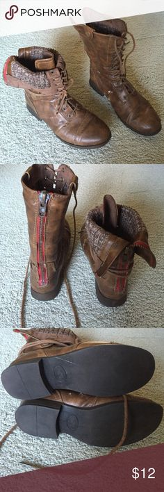 AE Convertible lace up boot This boot has some flaking of the exterior faux leather but is in great condition otherwise. They can be worn cuffed or all the way laced up. Super cute sweater material inside. American Eagle Outfitters Shoes Lace Up Boots