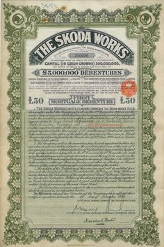 The Skoda Works - #scripomarket #scriposigns #scripofilia #scripophily #finanza #finance #collezionismo #collectibles #arte #art #scripoart #scripoarte #borsa #stock #azioni #bonds #obbligazioni