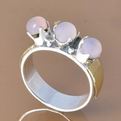 ROSE QUARTZ 925 SOLID STERLING SILVER EXCLUSIVE RING 4.66g DJR7389 #Handmade #Ring