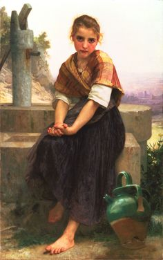 The Broken Pitcher, Bouguereau #painting #art #fineart #bouguereau #classical #french #traditionalist #girl #portrait #innocence #lost #broken