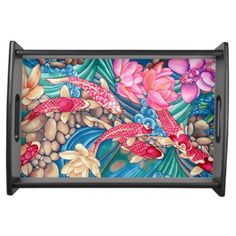 Koi Pond on Black Wood Serving Tray by Vikki Salmela, Perfect serving tray for #elegant #contemporary #original #art. #watercolor #koi #fish #lily pond #orchid #flower #water #stream #design for #home #fashion #accessory for #entertainment #serving #food or #display.