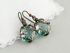 Jewelry OFF! 52 Ideas for jewerly making beads earrings wire work Wire Wrapped Earrings, Beaded Earrings, Earrings Handmade, Beaded Jewelry, Handmade Jewelry, Aquamarine Earrings, Glass Earrings, Stone Earrings, Diy Schmuck