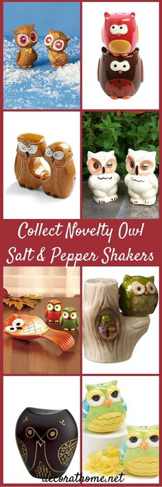 Many people like to collect items related to owls. Who doesn't love owls, with their majestic beauty, large eyes, and look of all knowing wisdom? If you happen to be an owl lover and collector, one of the items that is really fun to add to your collection are salt and pepper shaker sets, both new and vintage, featuring your favorite bird of prey.