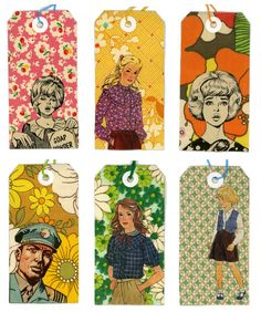 Tags made from A Wilderness For You and Me....  I could make these.  Cut tags from patterned paper and cut vintage ad images out or old pattern packages and glue on!