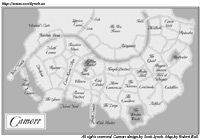 "Camorr, on the Iron Sea, is the primary setting for ""The Lies of Locke Lamora,"" by Scott Lynch. The map of Camorr from the Bantam Spectra edition of Lies, by Robert Bull. This version is fully accurate and congruent with what is described in the novel."