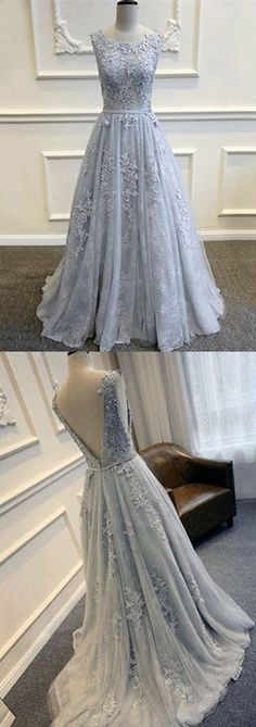 Prom Dresses Long, Gowns Prom, Prom Gowns for Teens,Prom Dresses on Line,Cheap Prom Dress for woman,Gray V-Back Tulle Prom Dresses With Lace Appliques,Party Prom Dress,Evening Dresses,SVD372