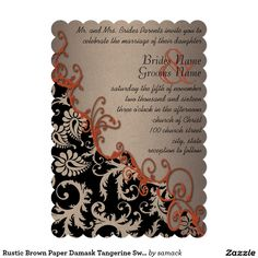 "Rustic Brown Paper Damask Tangerine Swirls 5"" X 7"" Invitation Card"