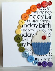 Button Rainbow Card leave out the cupcake maybe