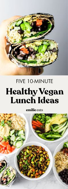 5 Healthy Vegan Lunch Ideas – Emilie Eats- Use these 5 Healthy Vegan Lunch Ideas to pack wholesome lunches for work or school! These recipes are packed with vegetables & flavor to keep you satisfied. Easy Vegan Lunch, Vegan Lunches, Healthy Snacks, Healthy Eating, Vegetarian Lunch Ideas For Work, Healthy Work Lunches, Easy Healthy Lunch Ideas, Veggie Lunch Ideas, Healthy Protein