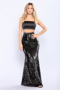 Air Glow Sequin Skirt Set - Black Red Carpet Dresses, Satin Dresses, Strapless Dress Formal, Sexy Skirt, Dress Skirt, Skirt Set, Fashion 2017, Daily Fashion, Kylie Jenner