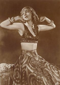"""Vilma Banky in Bellydancing Costume from """"Son of the Sheik,"""" circa 1920s, by Ross Verlag"""