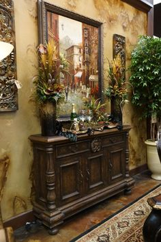 Home Interior White Great shallow console fits an many spots. Come visit our showroom, Carter's Furniture, Midland, Texas Foyer Decorating, Tuscan Decorating, Carters Furniture, Tuscany Decor, World Decor, Foyer Design, Tuscan Design, Tuscan House, Mediterranean Home Decor