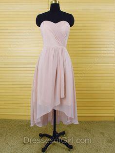 Trendy High Low Chiffon Ruffles Sweetheart Asymmetrical Bridesmaid Dresses…